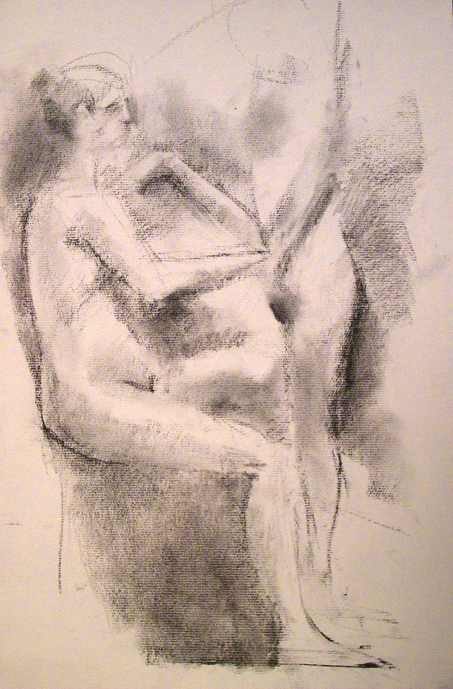 Seated Female Nude with Part of a Female Nude Behind, 18 x 12 inches