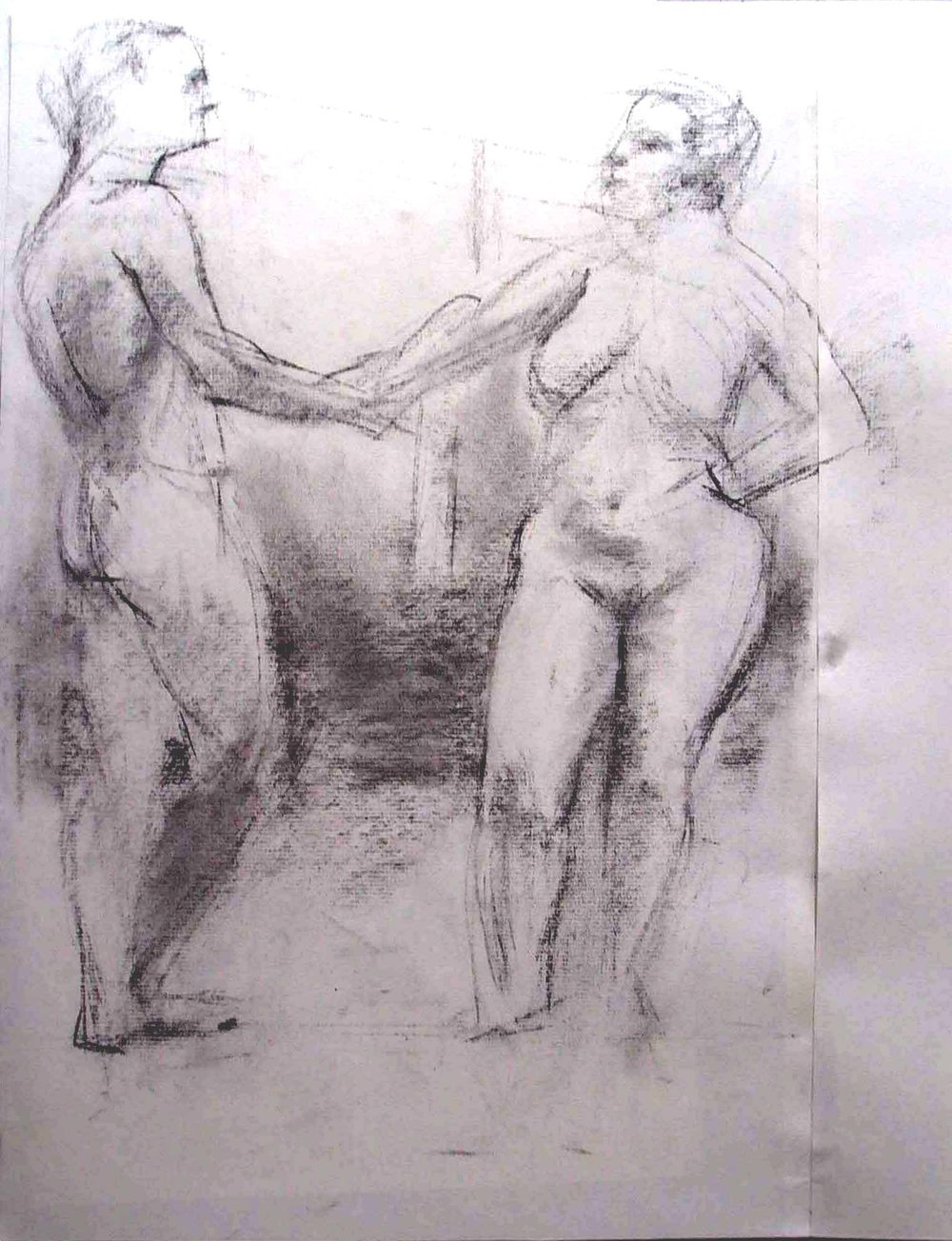 Standing Male and Female,  charcoal, 18 x 12 inches