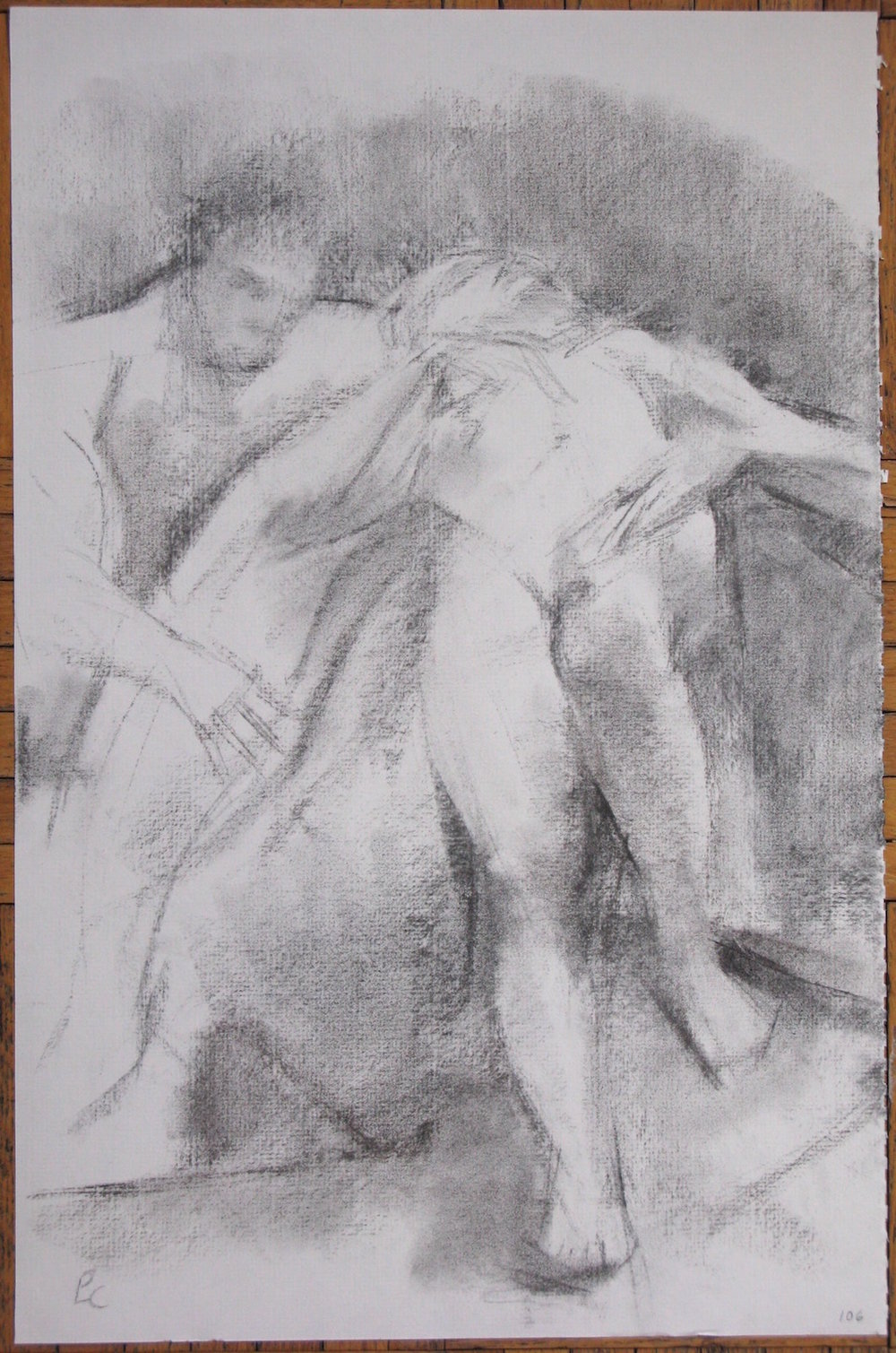 Nymph and Satyr, 18 x 12 inches, charcoal