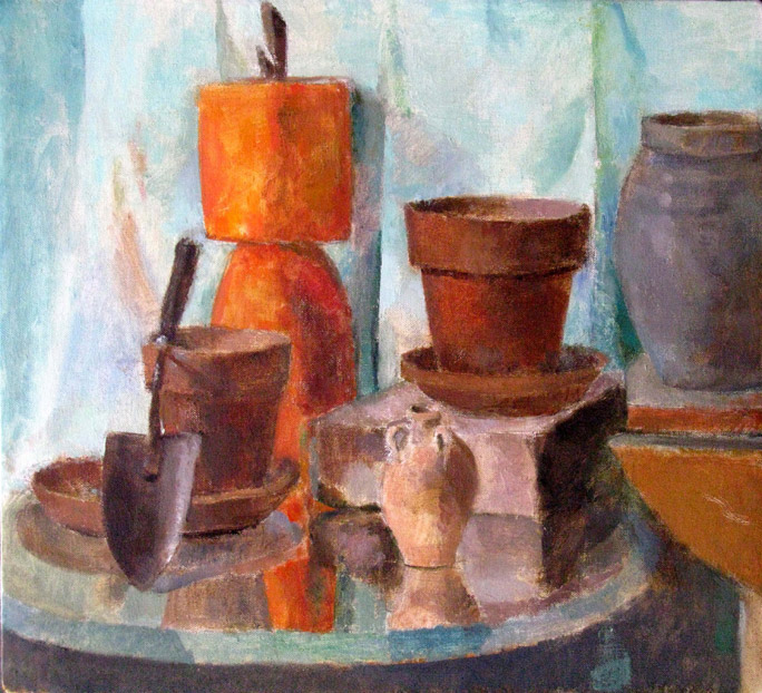 Still Life with Plant Pots, 20 x 22 inches, oil on linen