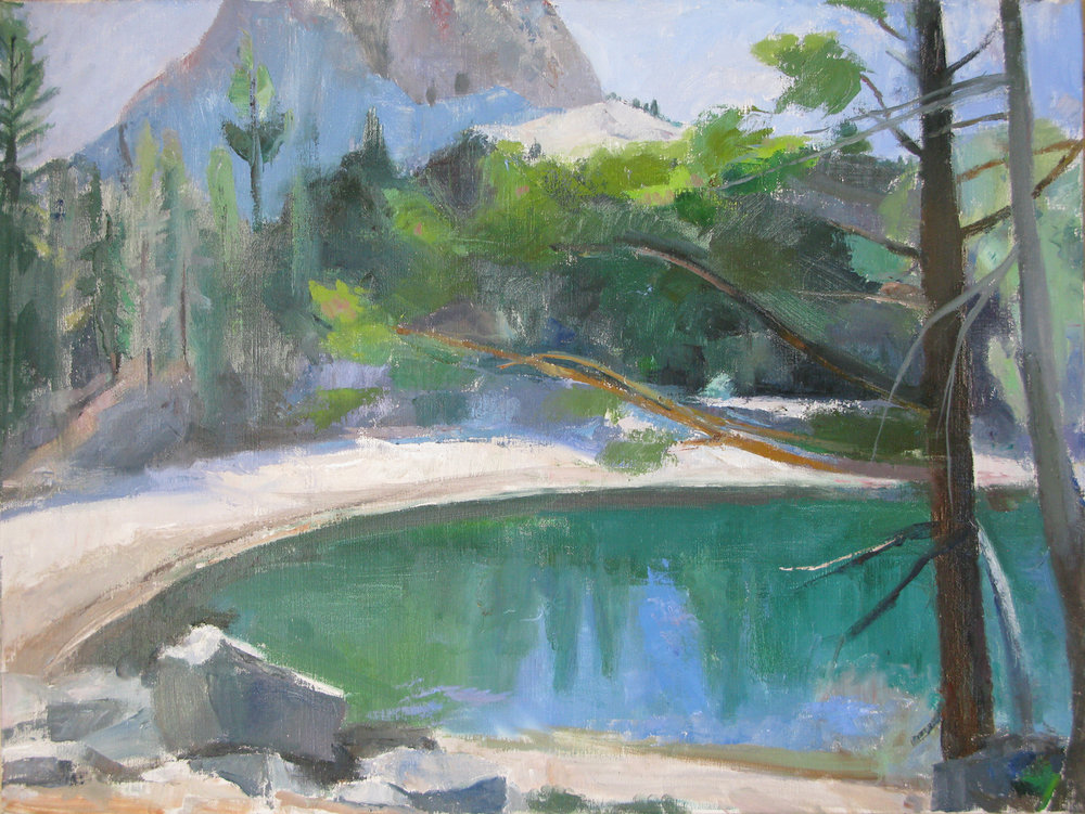 Barrett Lake with Crystal Crag, 24 x 32 inches, oil on linen