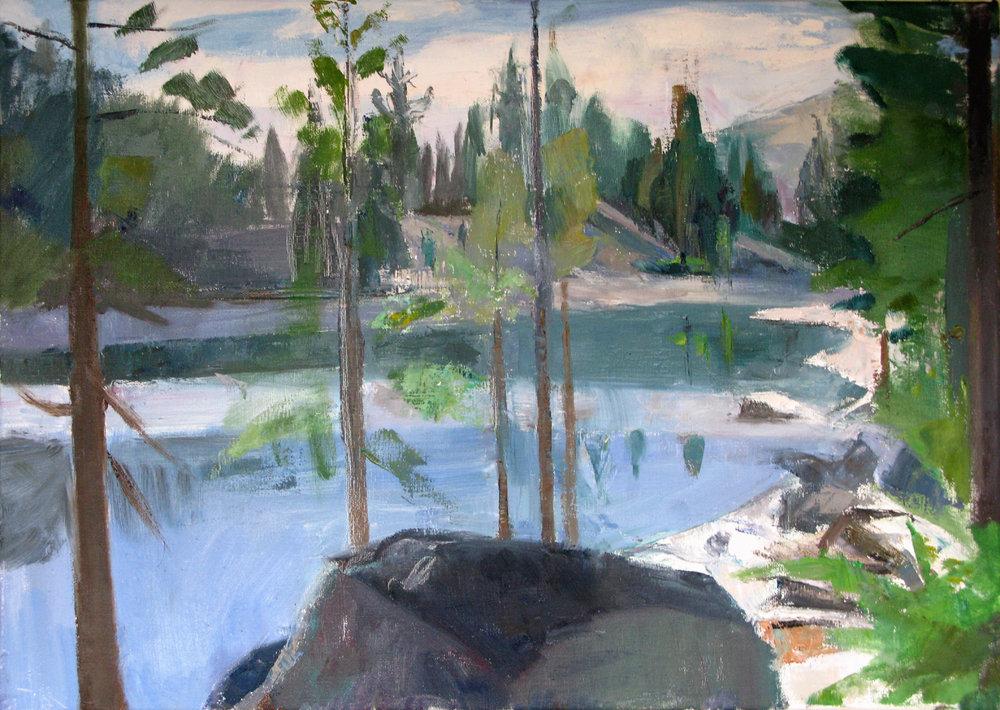 SN, Black Rock, Barrett Lake, 17 x 24 inches, oil on linen