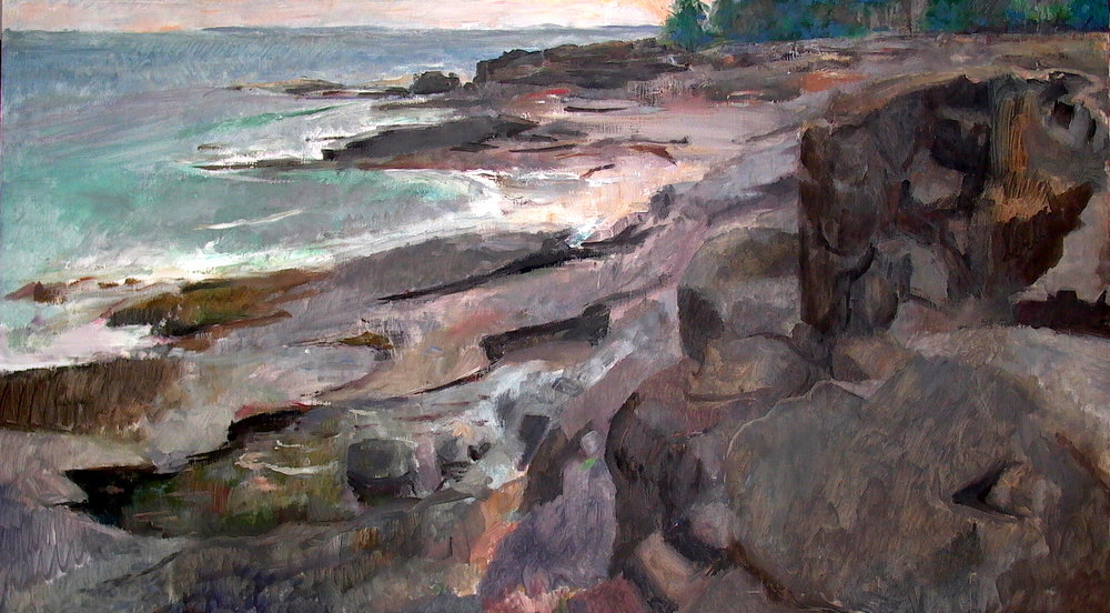 Back Shore, Great Cranberry Island, 30 x 56 inches, oil on linen