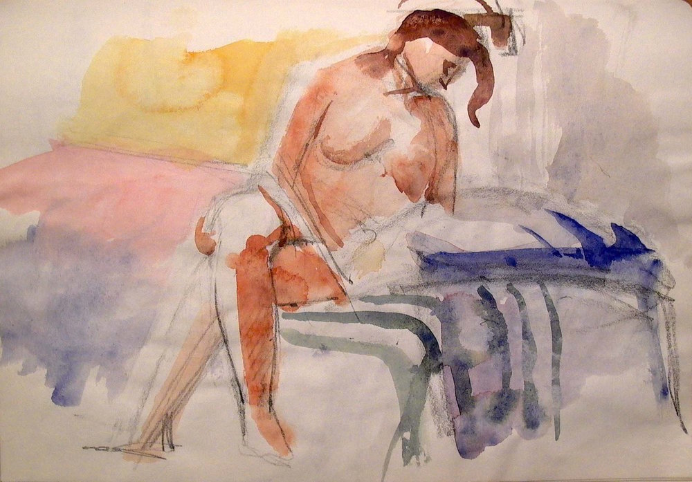 Female Figure on Striped Drapery, watercolor, 11 x 14 inches