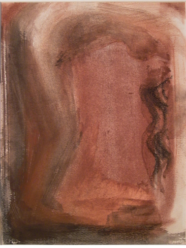 Bending Female Nude, burnt siena pigment and black chalk
