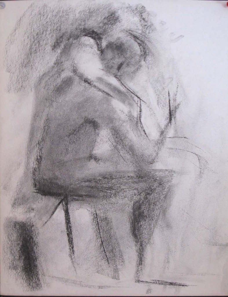Claudia and Valentine, 15 x 12 inches, charcoal