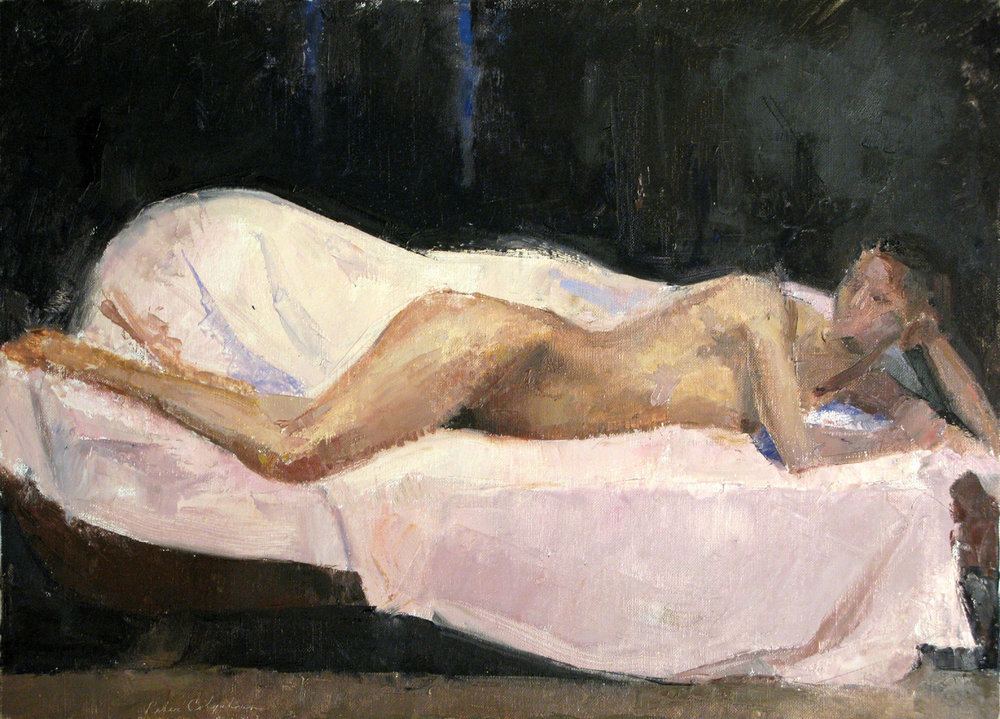 Reclining Female Nude, 15 x 21 inches, oil on linen