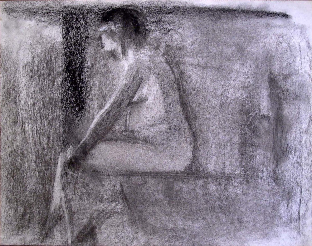 Seated Female Nude Facing Left, charcoal, 11 x 14 inches
