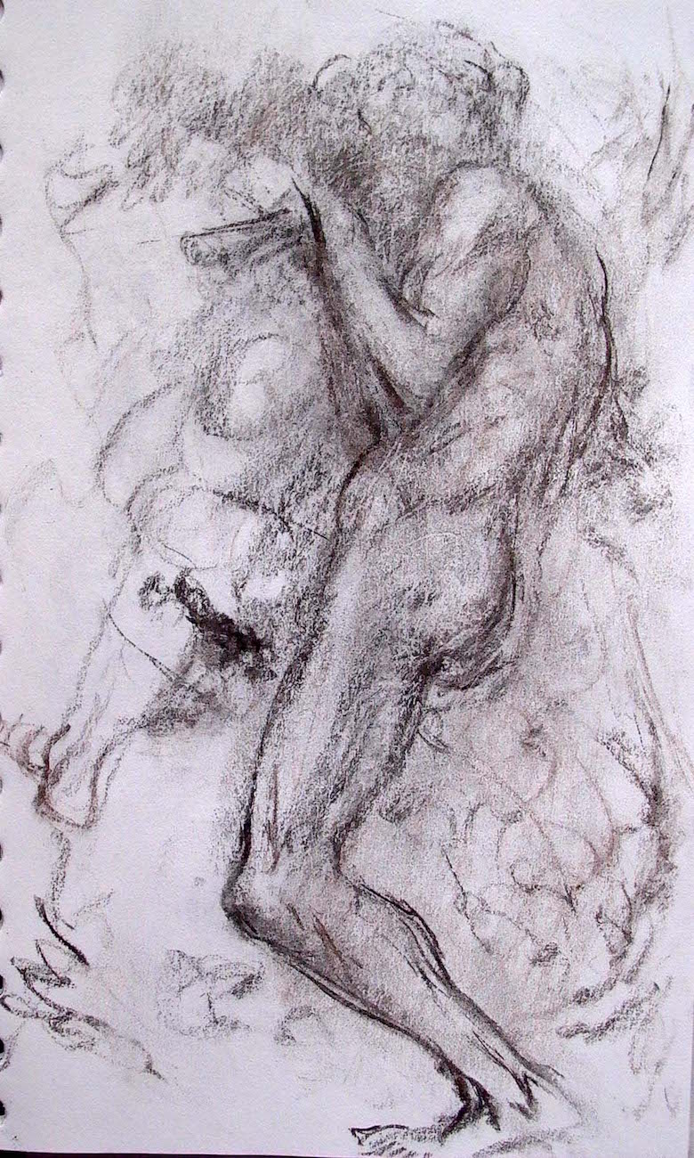 Dancing Male Nude, charcoal, 8 x 5 inches