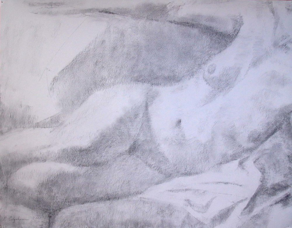 Reclining Female Torso and Legs, charcoal,18 x 24 inches