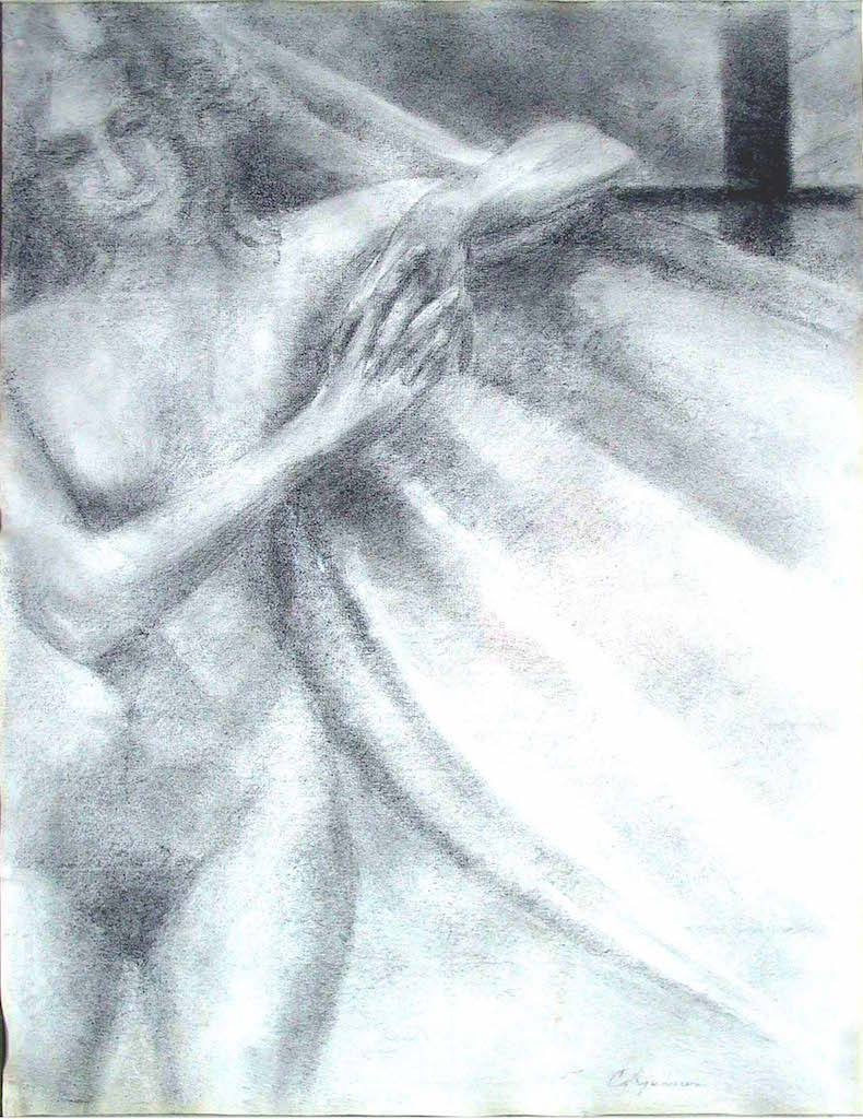 Standing Female Nude, Hands Clasped,  charcoal, 24 x 18 i