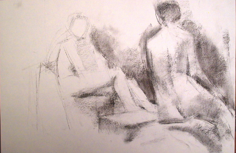 One Half Reclining, One Seated Female Nudes, charcoal, 12 x 18 inches