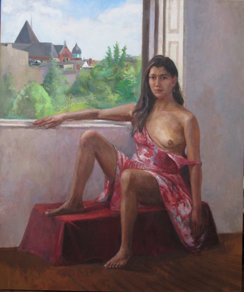 Female Nude Seated before Window, 60 x 50 inches, oil on canvas