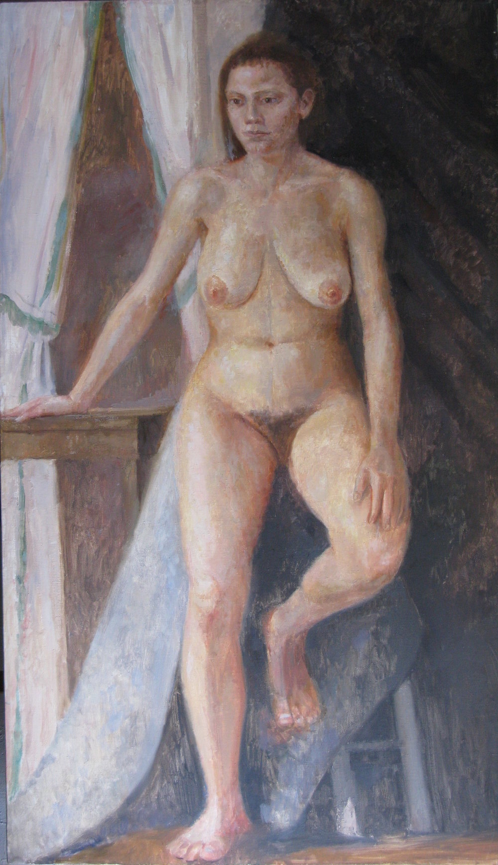 Female Nude, oil on linen, 58 x 34 inches