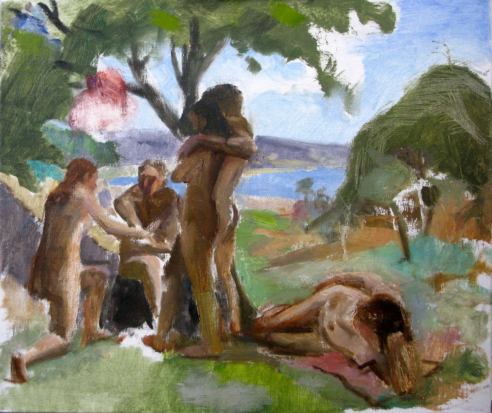 Five Nudes in a Landscape, 17 x 21 inches, oil on linen