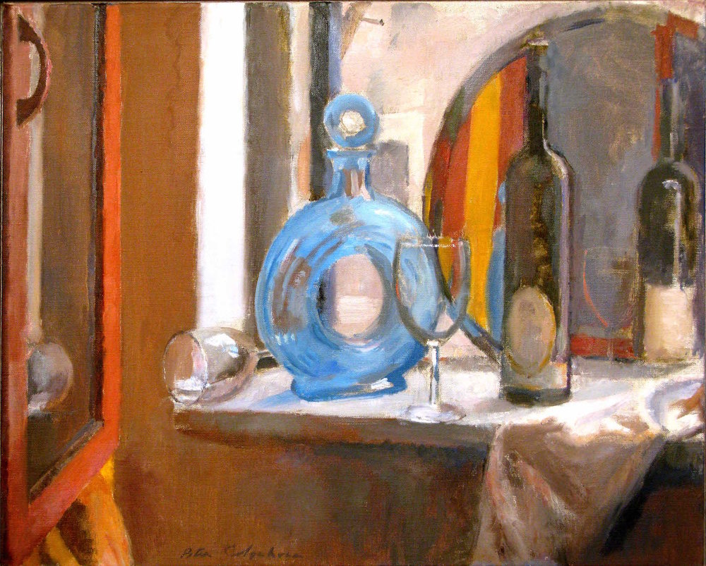 Blue Decantor, 20 x 25 inches, oil on linen.