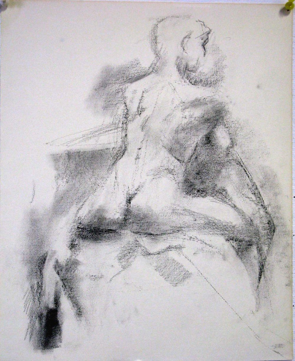 Seated Female Nude, Back, 15 x 12 inches, charcoal.