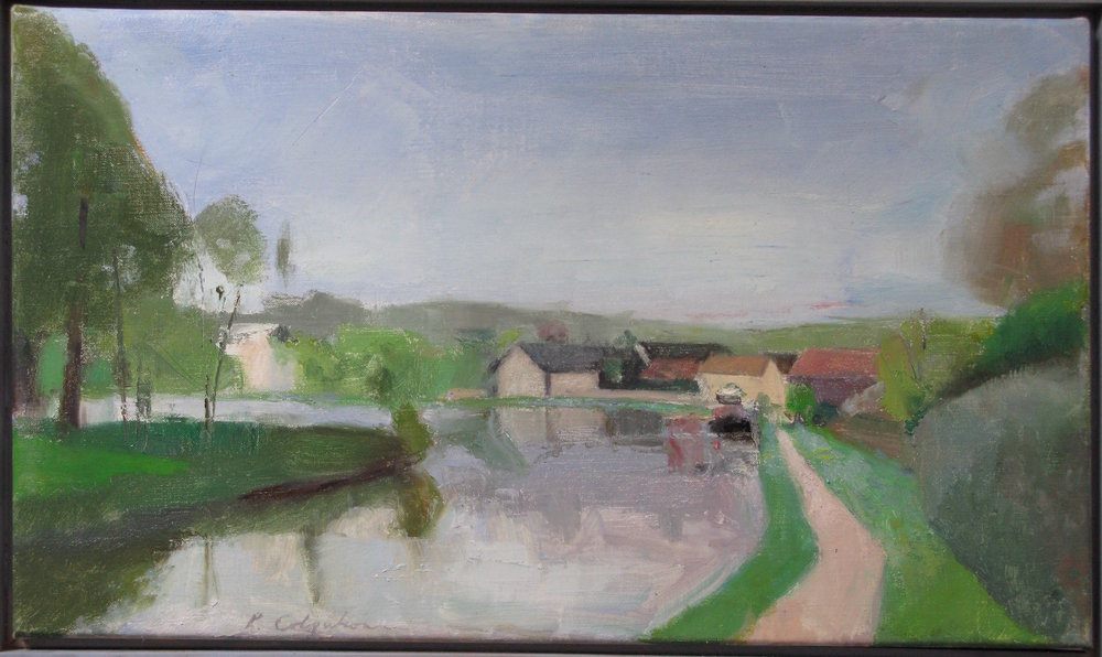 Vincelles Canal, 14 x 24 inches, oil on linen.