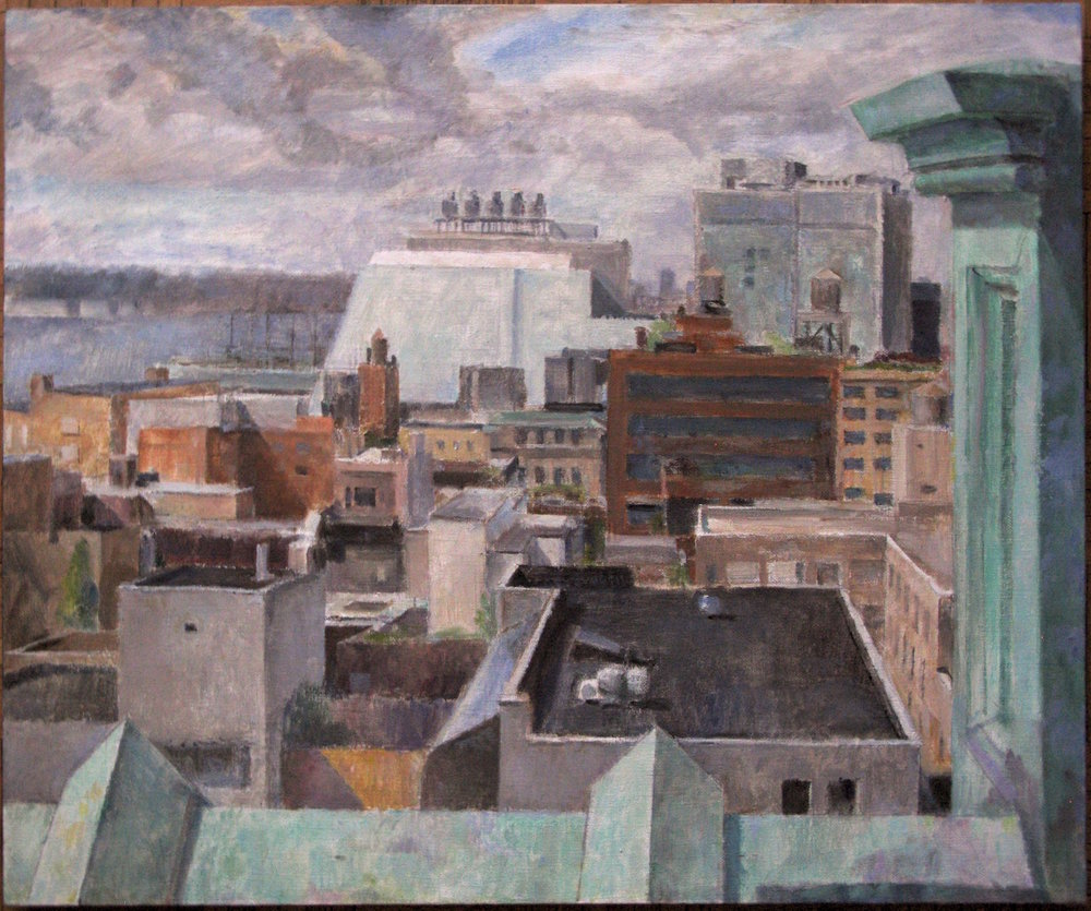 West Village Roof View, 30 x 36 inches, oil on linen