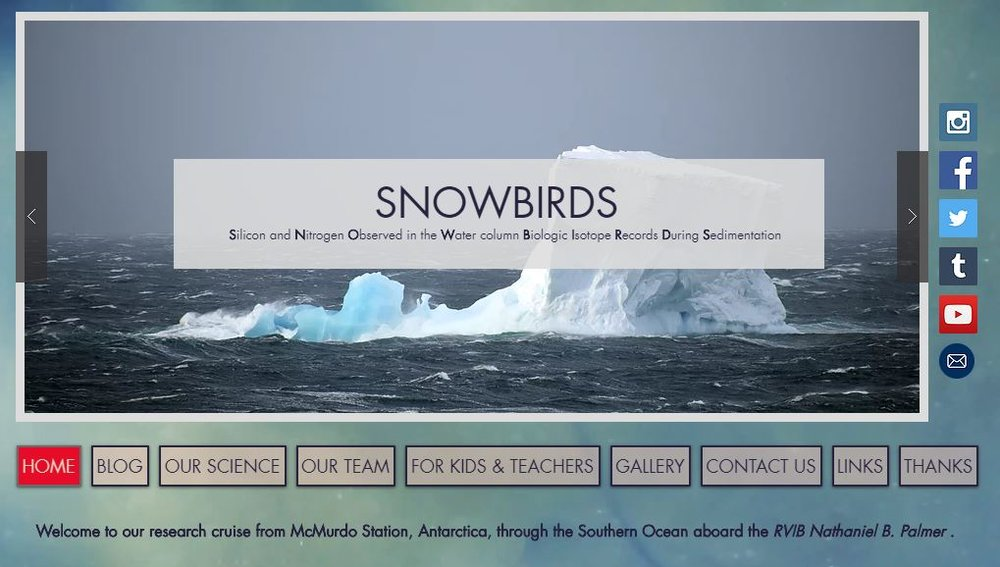 SNOWBIRDS Transect - Antarctic Research Cruise. Website design, photography, blog, and in-the-field Sci-Comm/Outreach by Marlo.