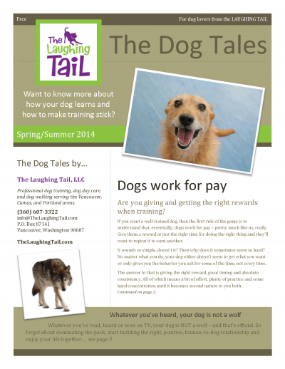 The Dog Tales newsletter from The Laughing Tail dog training dog walking dog day care serving Vancouver, Camas and Portland