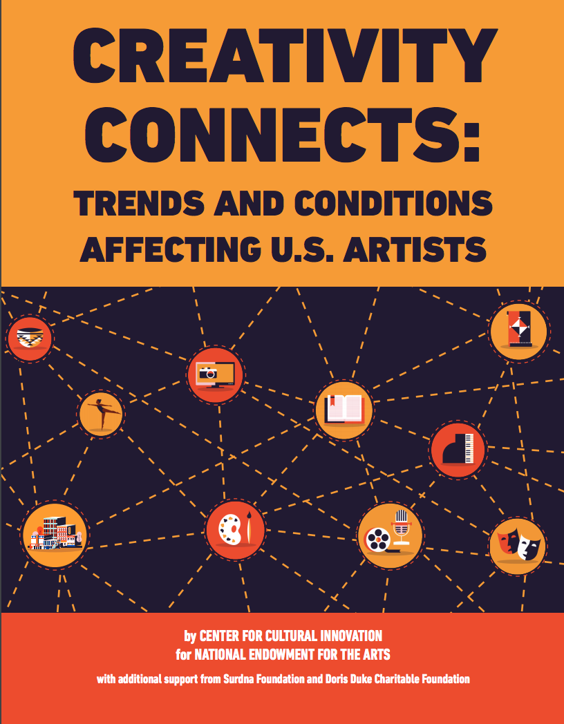 Above: Cover of the Center for Cultural Innovation's (CCI) Creativity Connects Report created in partnership with the  National Endowment for the Arts (NEA) . Principal Marc Vogl collaborated with CCI and a small team of researchers to undertake the first comprehensive analysis of the artists support systems in America in nearly fifteen years.