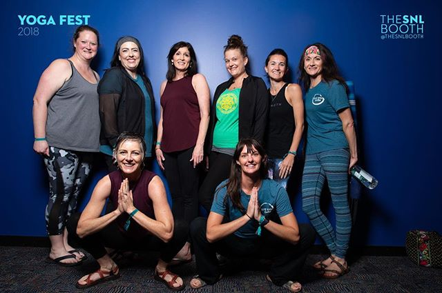 The @skyeyogastudio troop made their journey from Woodward, OK to attend YogaFest last weekend. We loved seeing them together. Thanks for making the trip, yoginis!!!! • • Photo cred: @toddscottco