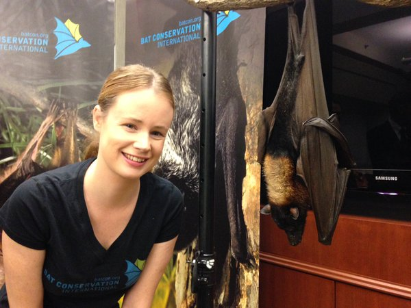 Micaela Jemison with a Malayan flying-fox.