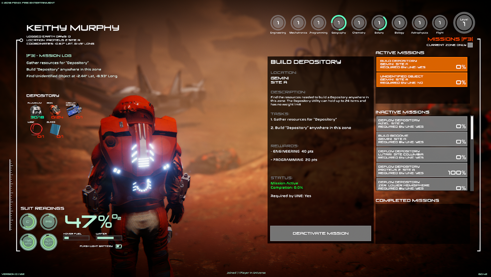 MISSION SYSTEM AND BUILD GOALS - Clear objectives from U.N.E. and System Computer to help you colonize and survive the harsh conditions of space exploration.