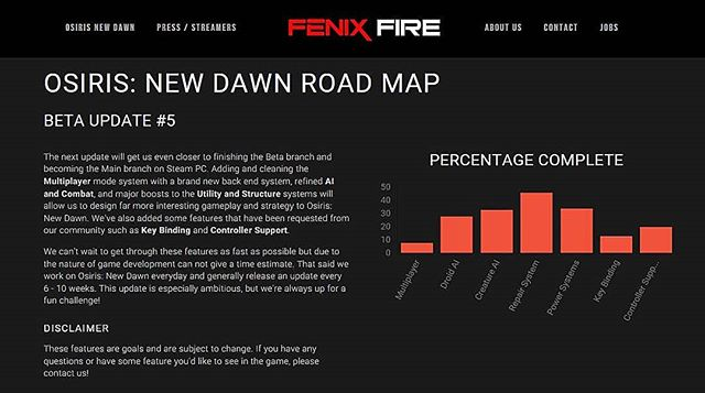 Hey guys! If you are interested in what we are working on, our goals, and what the next update will consist of, then please be sure to check out our Road Map!  You can access our Road Map from our website:  http://www.fenixfire.com/roadmap