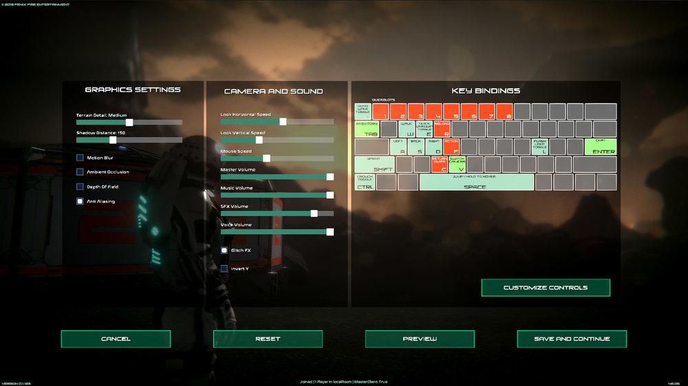 Graphic Options, Camera Options, and Key Binding are all implemented and working.