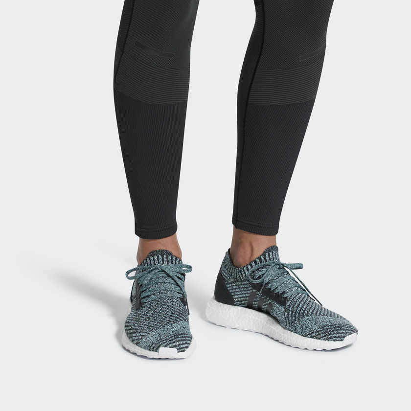 ULTRABOOST X PARLEY SHOES  These shoes were created using motion capture technology to meet the needs of the female runner. A women's-specific arch offers a uniquely supportive feel. The stretchy knit upper is made with yarn spun from Parley Ocean Plastic™ and adapts to the changing shape of your foot as you run. Responsive cushioning delivers a smooth and Energized ride. Runner type Neutral shoes for the ultimate running experience Lightweight support adidas Primeknit upper wraps the foot in adaptive support and ultralight comfort; Adaptive arch molds to the shape of your foot for a unique compression fit Energized cushioning Boost is our most responsive cushioning ever: The more energy you give, the more you get Reliable traction Stretchweb outsole flexes naturally for an Energized ride, while Continental™ Rubber gives you superior traction Natural feel and support Aramis 3D motion capture system maps runners' movements to create a fit without pressure points or irritation Good for the oceans This product is created with yarn made in collaboration with Parley for the Oceans: Some of the yarn features Parley Ocean Plastic™ which is made from recycled waste, intercepted from beaches and coastal communities before it reaches the ocean