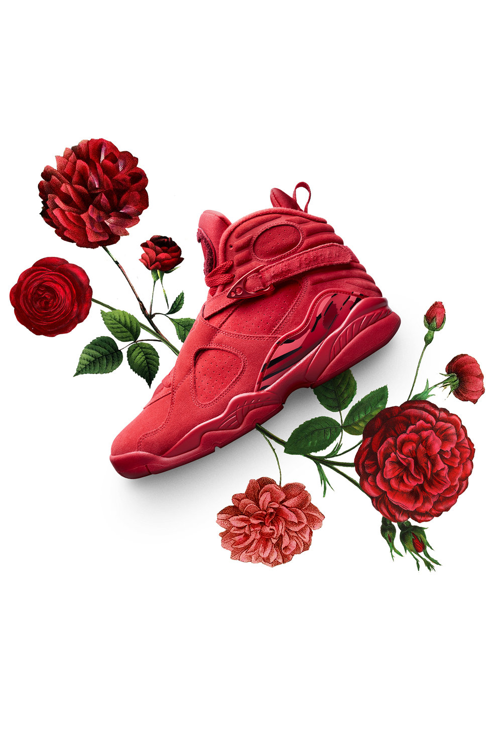 The latest Air Jordan VIII arrives just in time for Valentine's Day. It has more red than a bouquet of roses and a rich suede construction that brings out the silhouette's softer side. Featuring special graphics and a message to mark the occasion, it celebrates the day of love in style.