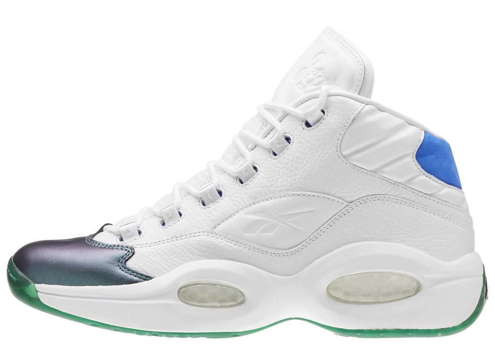 "A longtime sneakerhead, sports aficionado, and recent Reebok collaborator, rapper  Currensy  is bringing his vision to one of the brand's most important sneakers.  Yesterday, Spitta teased an upcoming ""Jet Life""  Reebok Question  collaboration by sharing a photo of the packaging on Instagram. This version of Allen Iverson's debut signature model is white-based, with an iridescent toe cap, blue suede on the heel, Jet Life logos on the tongue and heel, and green 'plant' graphics on the outsole. via  -Solecollector"