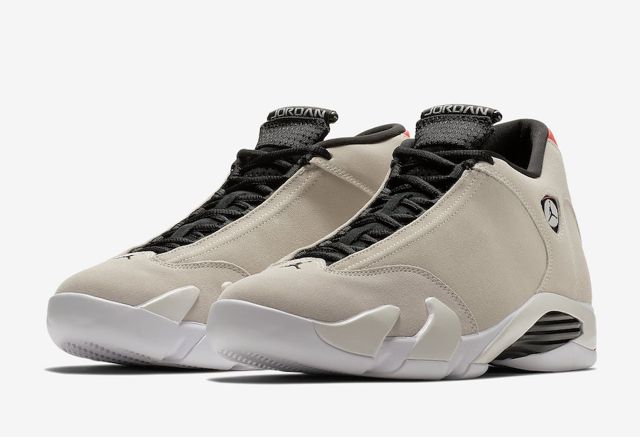 The Air Jordan XIV was the last of the signature line MJ would lace up in Chicago. It debuted during the 1998 post-season, as he chased his sixth and final championship. Like other models before it, the shoe's design was inspired by luxury sports cars in both look and performance. The latest version arrives in a suede construction, sporting a Desert Sand shade and pops of Infrared 23.