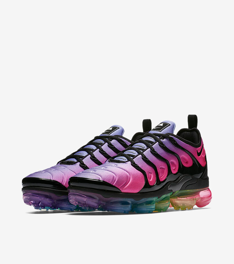 The Air VaporMax Plus 'BE TRUE' rallies two Nike icons—the Air Max Plus and Air VaporMax—to the LGBTQ cause and the celebration of Pride. It sports the most prominent symbols of Pride from top to bottom, including an outsole inspired by the rainbow flag, pink and lavender colors, and the triangle emblem. BETRUE messaging stands out proudly on the sockliner.