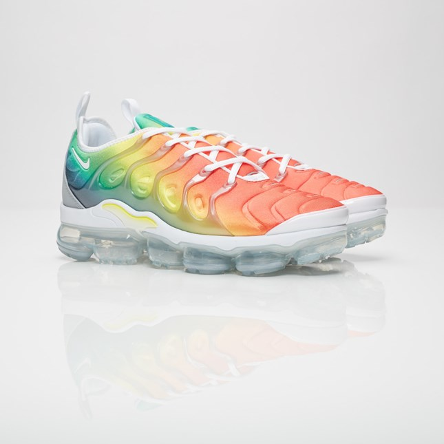 "USE CODE sneakers FOR 10% OFF     Do you like it colorful and eye-popping? Than this Nike Air Max Plus ""Multi"" is the real deal. 20 years ago, the Nike Air Max Plus was released and inspired by jacked palm trees and ocean sunsets all that by mixing flashy colorways with a small Swoosh. Combined with today`s lightweight Air VaporMax outsole, Nike celebrates a new model, the Nike Sportswear Air VaporMax Plus. The multi-colored silhouette features orange, blue, yellow and green flowing into each other. The lightweight multi neoprene upper is paled by a thick flaming translucent cage. The Nike Swoosh as well as the new ""VM air"" logo enthrone from the heel and back of the shoe just to be finished off by the state of the art heel-to-toe Vapormax bubble."