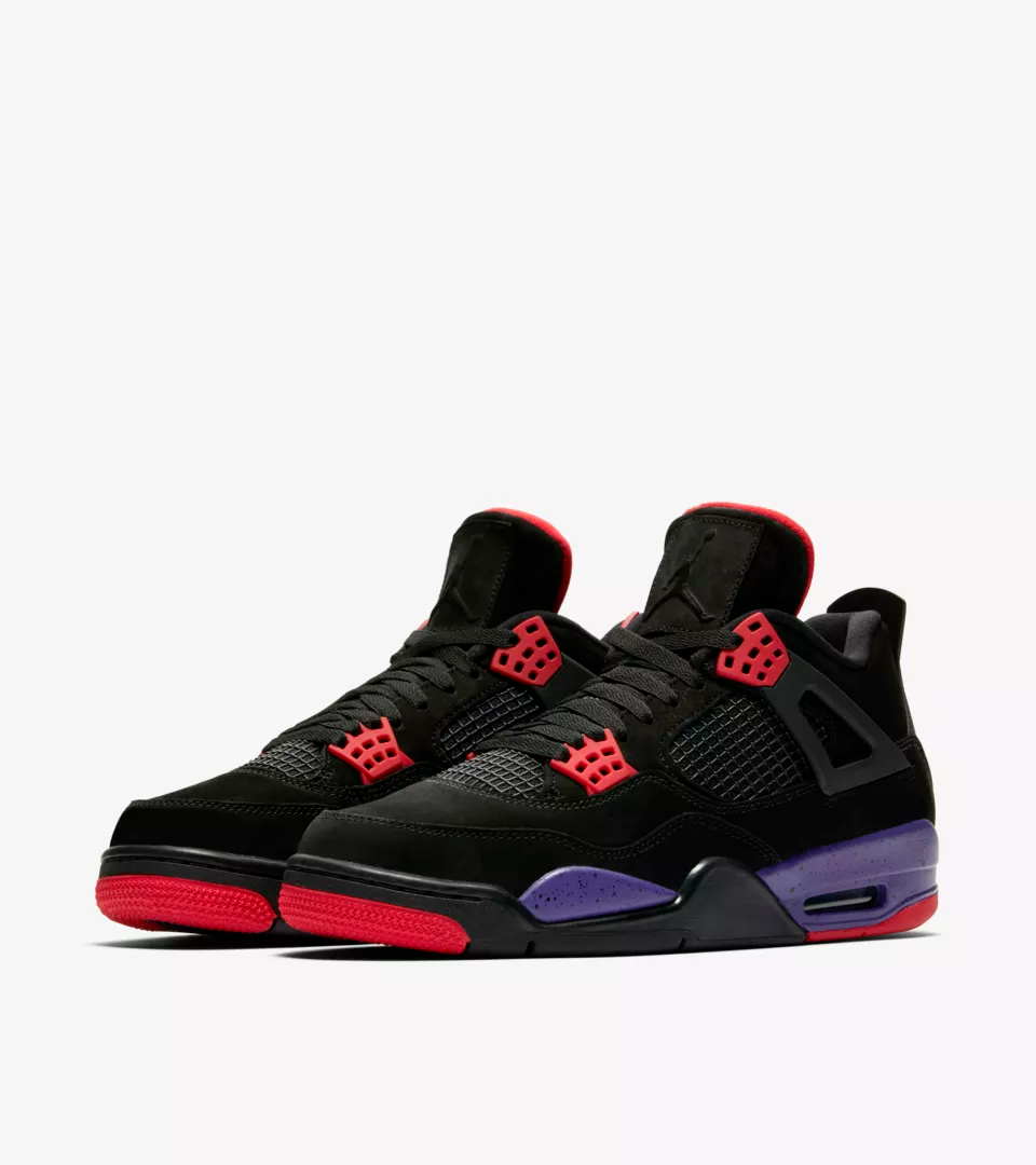 """After the eye-catching exotic materials and visible air unit used on its predecessor, the Air Jordan IV's design took it a step further with even more visible technology. Its mesh panels, supportive """"wings"""" and reengineered lace locks introduced new standards of comfort and lockdown to the signature. Still, despite its basketball performance roots, the shoe still resonates just as much for its off-court style, if not more. The latest colorway arrives in Black/University Red-Court Purple."""