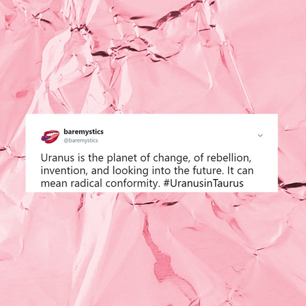 Uranus in Taurus: What Lies Beneath Will Shoot Up and Grow [LINK IN BIO]  URANUS is leaving the bold and active Aries and is entering into stable, peaceful, indulgent Taurus. Uranus enters Taurus on May today and will stay there for about 8 years. Taurus is the sign of stability and keeping things on an even keel. Uranus is the planet of change, of rebellion, invention, and looking into the future. It can mean radical conformity. Yet, Taurus is also the sign of art, beauty, and the sensual, meaning changes in our material possessions and what we value as good is subject to change, too. See how this transit may affect your sign.  #uranusintaurus #uranus #astronomy #astrology #witchesofinstagram #brujasofinstagram #witchesofcolor