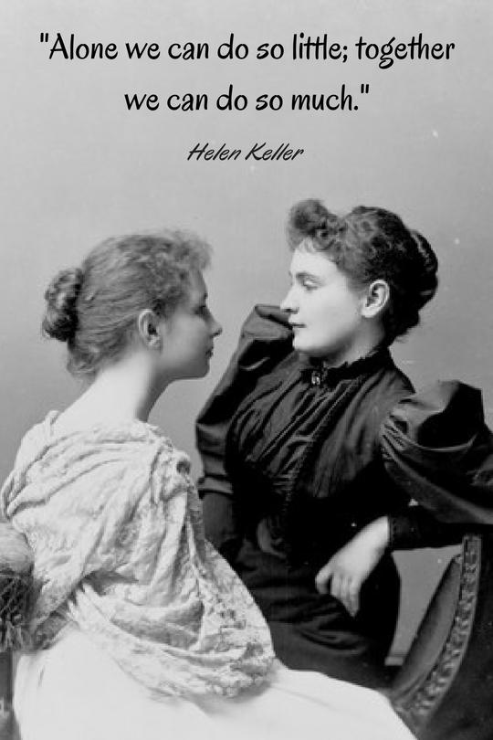 Helen Keller with her teacher, Anne Sullivan.