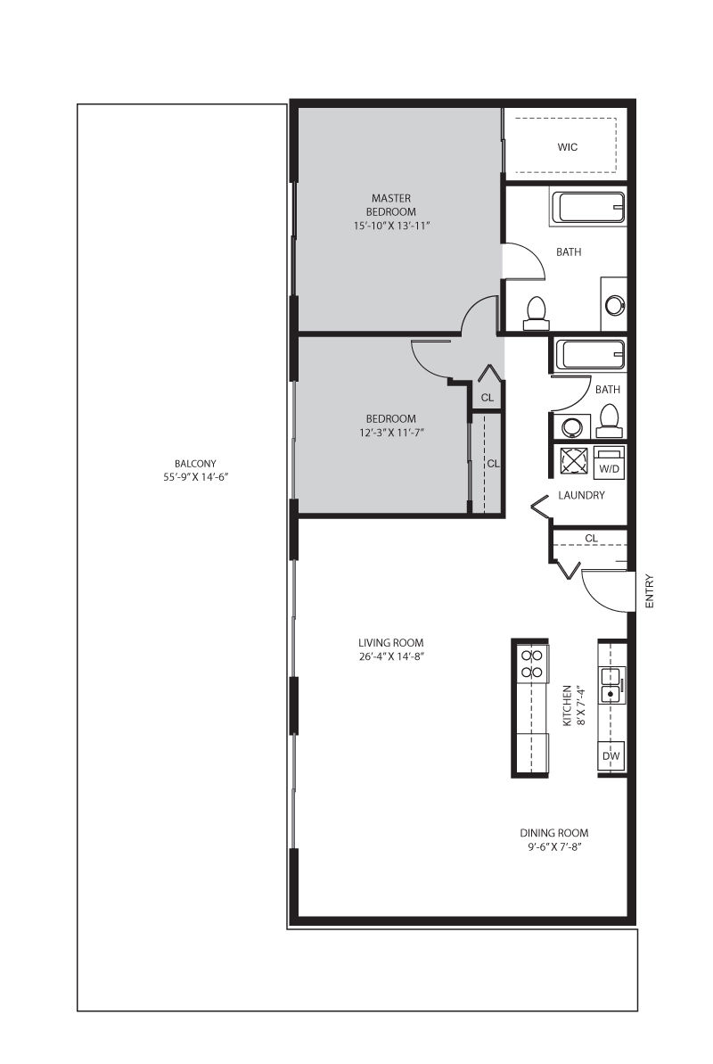 2 Bedroom / 2 Bath - D Floor Plan 5
