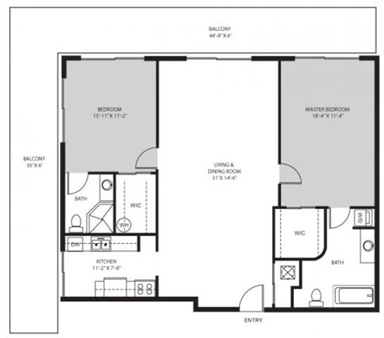 2 Bedroom / 2 Bath - B1 Floor Plan 7