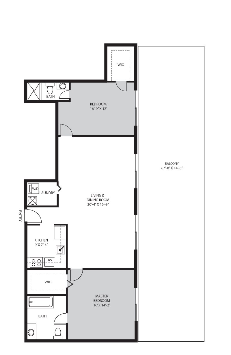 2 Bedroom / 2 Bath -  E Floor Plan 6