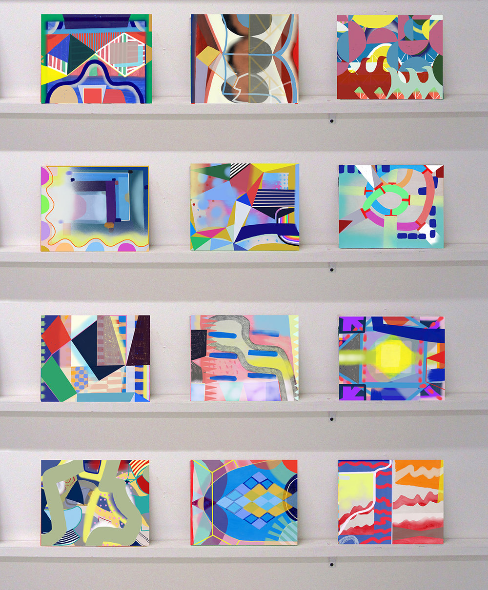 "Mark Brosseau, ""12 Small Panels,"" 2016, acrylic, enamel, Flashe, ink, and spray paint on wood with shelves, 8 x 10 inches each"