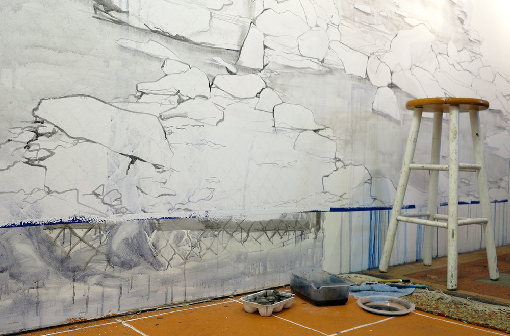 """(work in-progress) No More We Can Hold, Cindy Stockton Moore, Ink on Wall, 2017, 96"""" x 129"""""""