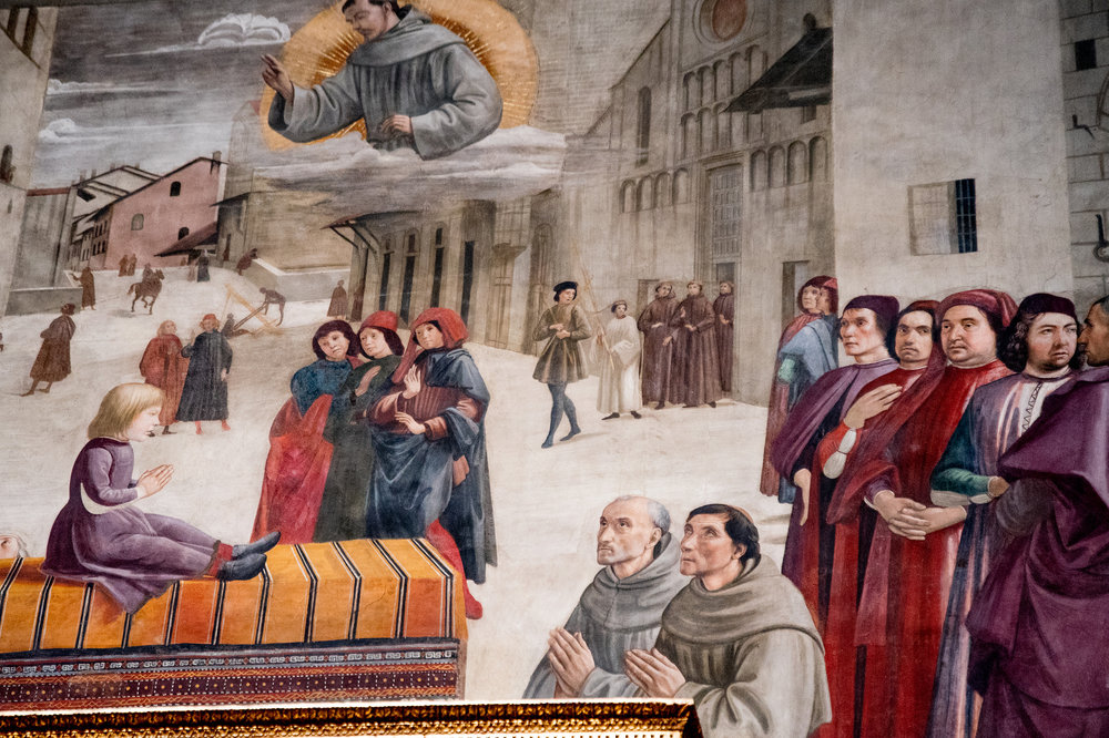Miracle of St Francis in resuscitating a boy who had fallen from Palazzo Spini.