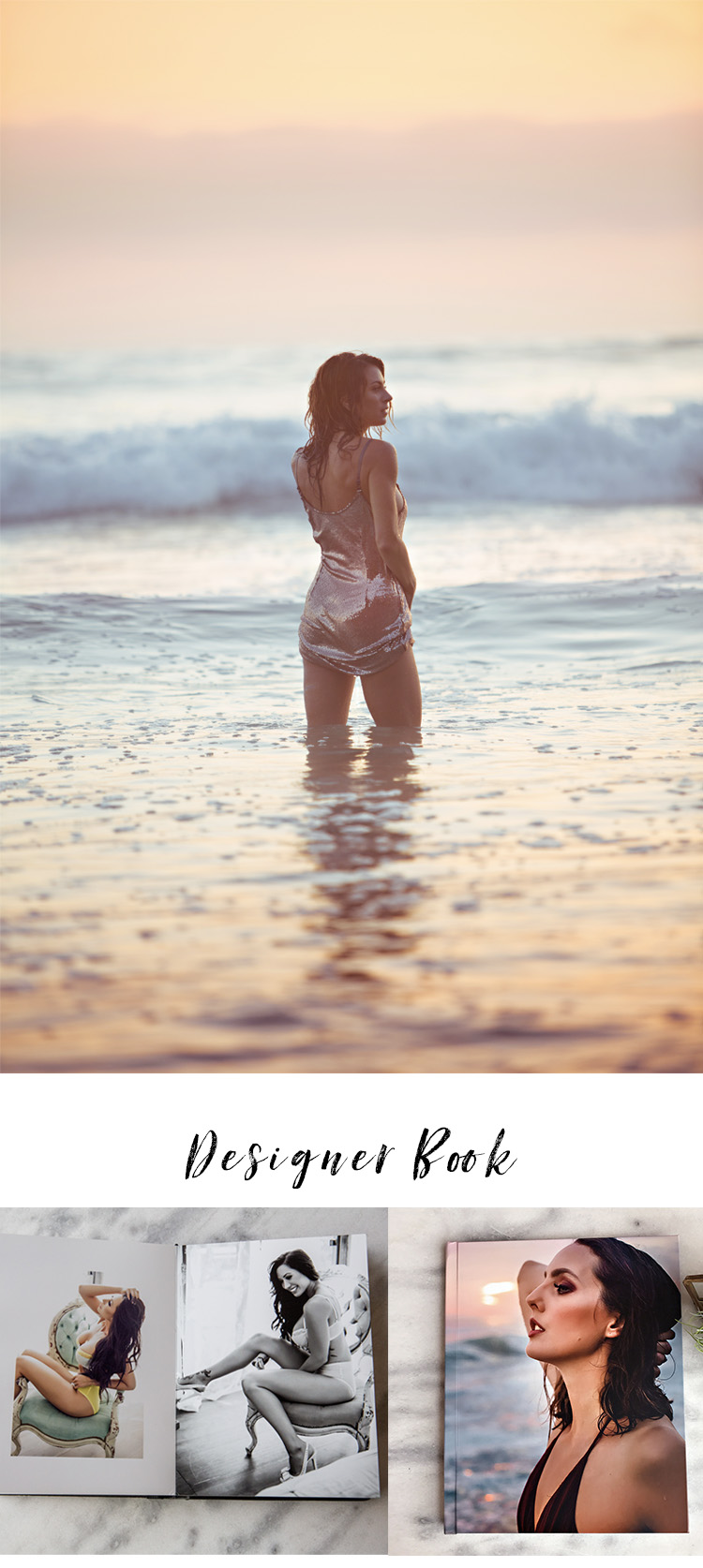 BY THE SEA | PRICING - 3 in-house looks/outfits ($750 value):– photographed in our studio- 2.5 hours in house session time2 sunset by the sea looks/outfits($1000 value):- 45 minute session time on our closest and loved beach1 hair and make-up look ($150 value)Online viewing of proofs8.5×11 Designer Art Book ($895 value)-25 pages-35 images-Magazine quality editing and airbrushingAll high resolution digital files of the shoot ($1000 value)A la carte value: $3795 ($2350 discount!)In the past this package was $2700, our new location allows us to have this huge discounted price below!!PACKAGE PRICE: $1389 + taxPayment plans available with zero interest.1/3 due at booking. CLICK HERE TO SEE NEXT AVAILABLE SPOTS!