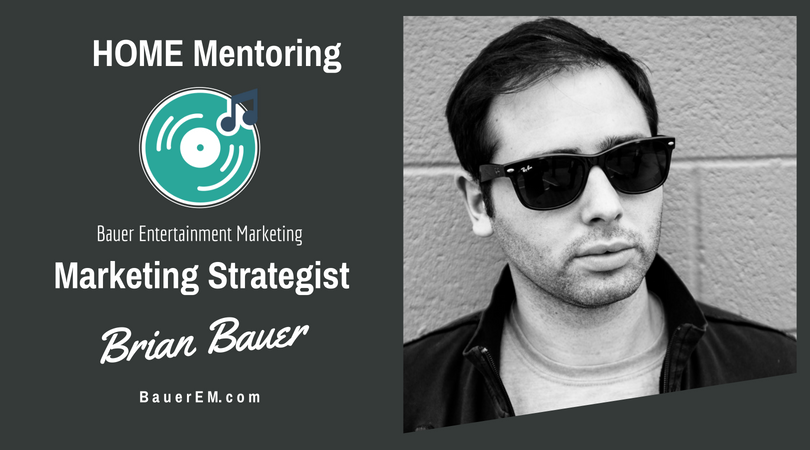 Friday, June 29th, from 12-1 HOME members have an opportunity to meet with Brian Bauer, President of Bauer Entertainment Marketing.  Use the link  http://bit.ly/MktgMentorSession  to book a session.  You must be a HOME member to schedule.  Receive free growth ideas to increase your fans, sales and profit.
