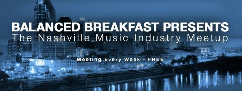EVERY FRIDAY at HOME from 9 - 11 am   Improving Nashville's music industry one breakfast at a time. Weekly casual meetup / hangout of musicians, label owners, bookers, publicists, mixers, engineers and bloggers -- aiming to share knowledge, network and strengthen the music industry. (all genres welcome!) Attendees talk about actions we can take to help Nashville become a place where musicians and industry professionals can make money doing what they love: music.  Balanced Breakfast was started by Andy Freeman & Stefan Aronsen in San Francisco with the goal to help the music industry become more viable. BB is growing quickly across the country - 16 cities and counting! Check out these links for more information:  Balance Breakfast Website  -  Balanced Breakfast Facebook
