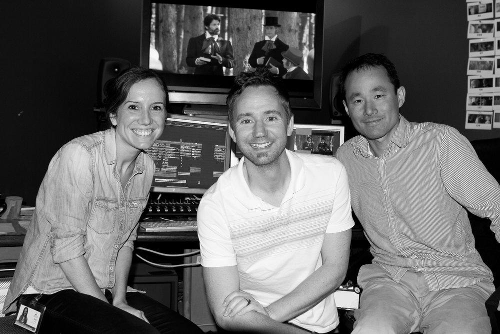 L-R - 1st Assistant Editor Katie Dose, Director Kyle Portbury, Editor Bin Li
